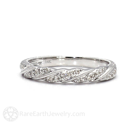 Engraved Diamond Wedding Band Art Deco Rope Twist Pattern