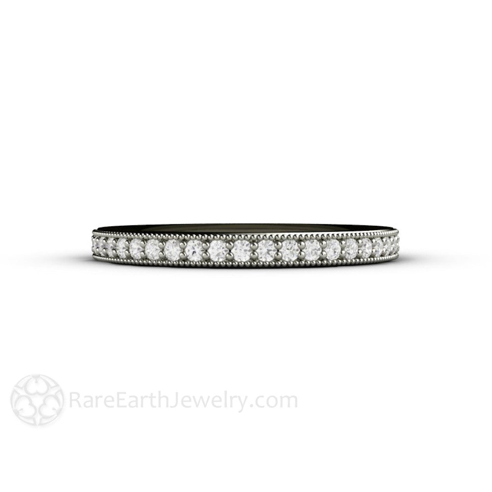 Rare Earth Jewelry Diamond Wedding Ring with Milgrain Detail Stackable Anniversary Band 14K Gold