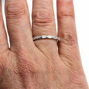Rare Earth Jewelry Diamond Stacking Wedding Ring or Anniversary Band on Finger Baguette Cut 14K or 18K