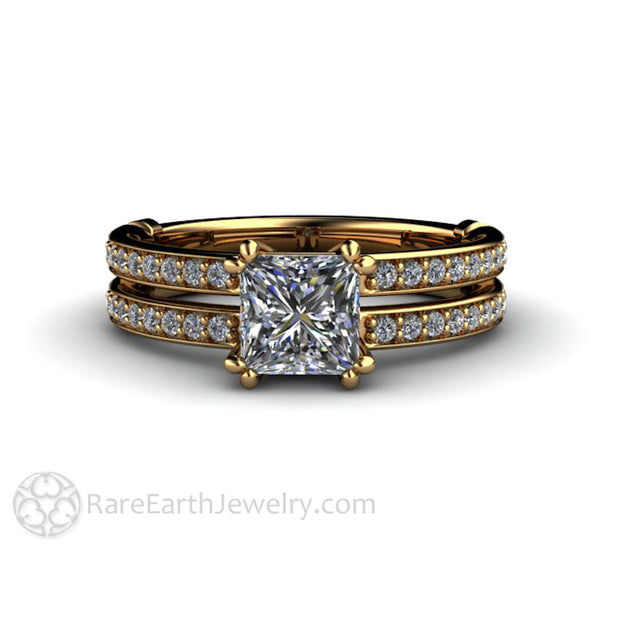 Rare Earth Jewelry Double Prong Princess Square Cut Diamond Wedding Ring 1ct Solitaire Split Shank Setting 18K Yellow