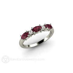 January Birthstone Ring Red Garnet Band Rare Earth Jewelry