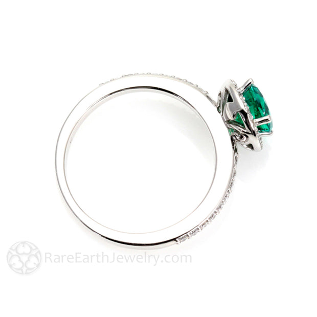Rare Earth Jewelry Round Cut Emerald and Diamond Bridal Ring