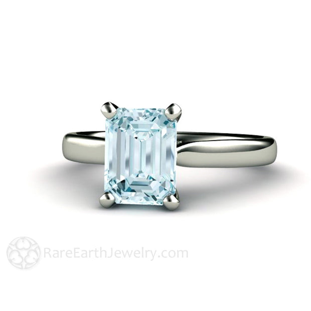 Rare Earth Jewelry Aquamarine Solitaire Ring Emerald Cut Natural Gemstone