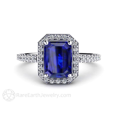 Rare Earth Jewelry Emerald Blue Sapphire Halo Engagement Ring 14K or 18K Gold