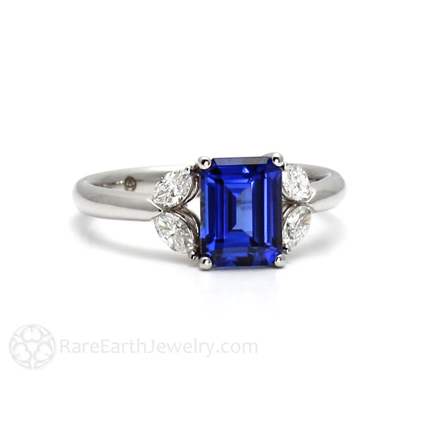Emerald Cut Blue Sapphire Ring Right Hand or Cocktail Ring 14K White Gold Rare Earth Jewelry