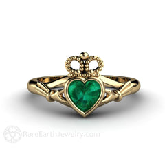 Rare Earth Jewelry Emerald Claddagh Engagement or Promise Ring 14K Gold