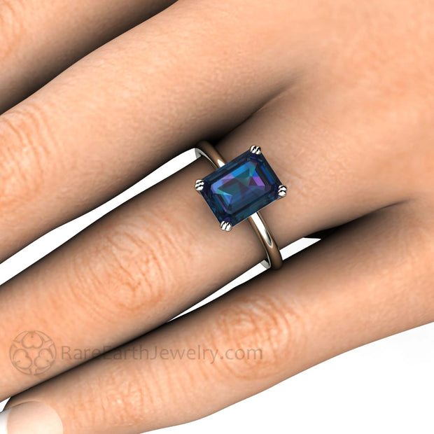 Rare Earth Jewelry Emerald Cut Alexandrite Solitaire Engagement Ring on Finger 14K Gold Setting