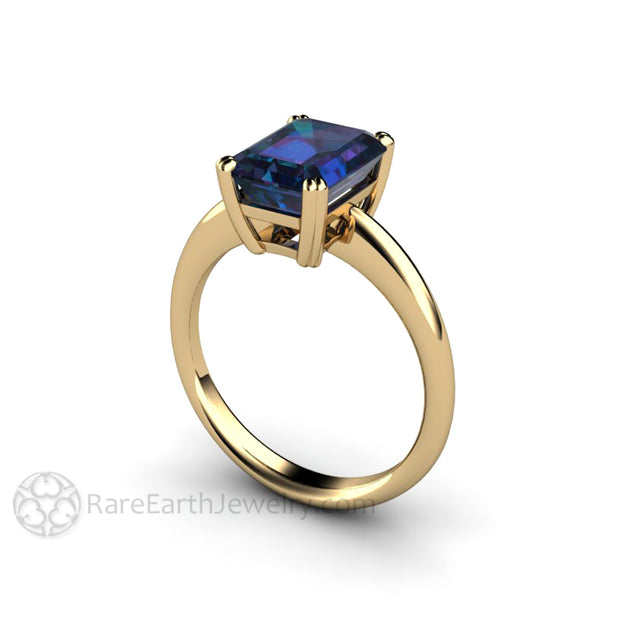 Rare Earth Jewelry Emerald Cut Alexandrite Solitaire Ring 14K Yellow Gold Double Prong Setting June Birthstone