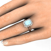 Rare Earth Jewelry Emerald Cut Aquamarine Engagement Ring on Finger Cluster Diamond Halo Setting 14K or 18K Gold