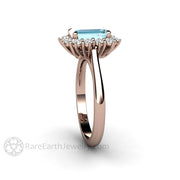 Rare Earth Jewelry Emerald Cut Aquamarine Ring Diamond Accented Halo 14K Rose Gold March Birthstone