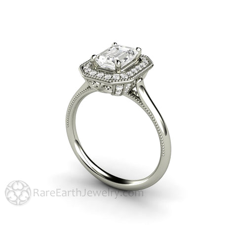 Vintage Emerald Cut Moissanite Engagement Ring with Diamond Halo and Filigree