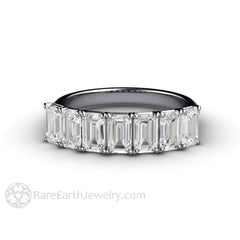 Rare Earth Jewelry Platinum Emerald Cut Forever One Moissanite Stackable Ring Colorless Forever One Woven Prong