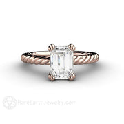 Rare Earth Jewelry Moissanite Solitaire Engagement Ring 1.6ct Emerald Cut Forever One Rose Gold Double Prong Setting