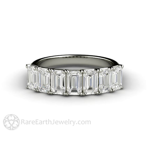 Seven Stone Emerald Cut Band Forever One Moissanite Ring