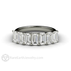 Rare Earth Jewelry Emerald Cut Moissanite Ring Woven Prong 7 Stone Setting 14K or 18K Gold