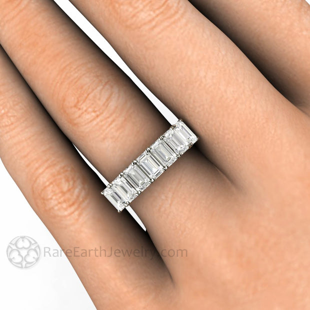 Rare Earth Jewelry Emerald Cut Moissanite Wedding Ring Woven Prong 7 Stone Colorless Forever One on Hand
