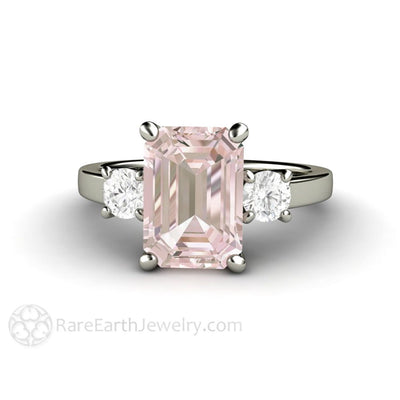 Rare Earth Jewelry Emerald Morganite Engagement Ring with Diamonds 3 Stone 14K White Gold