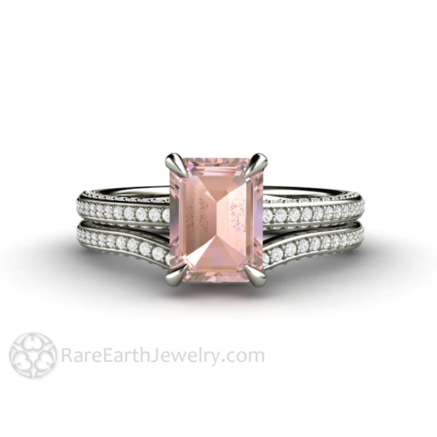 Emerald Cut Pink Sapphire Bridal Set with Pave Set Diamonds and Claw Prongs by Rare Earth Jewelry