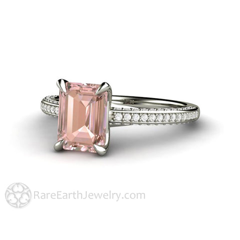 Champagne Pink Sapphire Engagement Ring Emerald Cut Pave Solitaire