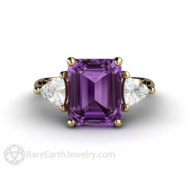 Rare Earth Jewelry 14K Purple Emerald Cut Color Change Sapphire 3 Stone Ring