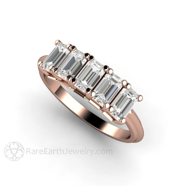 Rare Earth Jewelry White Sapphire Ring Emerald Cut 5 Stone Band 14K Rose Gold