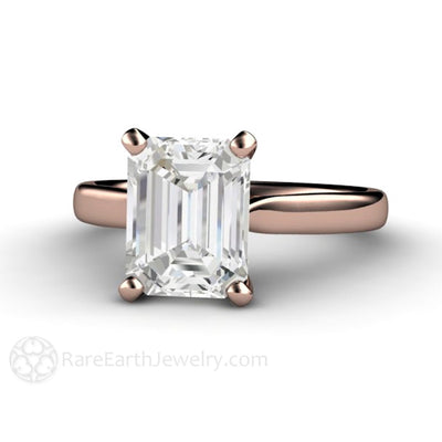 Rare Earth Jewelry Emerald Cut White Sapphire Solitaire Engagement Ring 14K Rose Gold