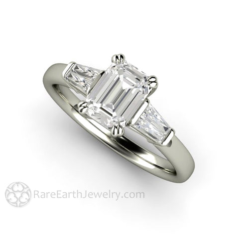 Emerald Cut Diamond Engagement Ring with Tapered Baguette Side Stones