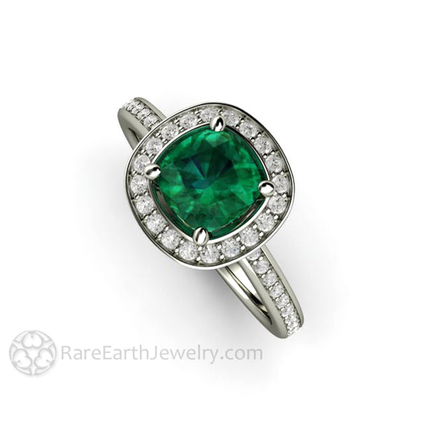 Rare Earth Jewelry Emerald Diamond Halo Engagement Ring Cushion Cut May Birthstone