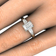 Rare Earth Jewelry Emerald Cut Diamond Engagement Ring with Tapered Baguette Side Stones on Finger