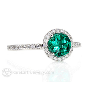 Rare Earth Jewelry Emerald Engagement Ring with Diamond Halo Accent Stones 14K Gold