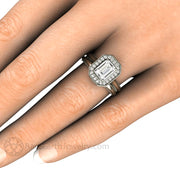 Rare Earth Jewelry Emerald Forever One Moissanite Bridal Ring on Finger Halo Deco Setting