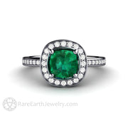 Rare Earth Jewelry Emerald Halo Engagement Ring Cushion Cut with Diamond Accents Platinum Setting