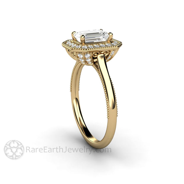 Rare Earth Jewelry Emerald Halo Moissanite Anniversary Ring Art Deco Design 14K Gold