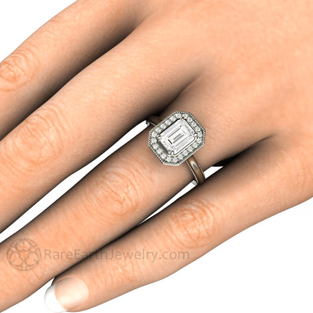 Rare Earth Jewelry Emerald Moissanite Halo Engagement Ring on Finger Vintage Deco Style Setting