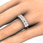 Rare Earth Jewelry Emerald Moissanite Stacking Ring Stackable Band on Finger Seven Stone 14K Woven Prong Setting