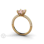 Chatham Pink Champagne Emerald Cut Sapphire Wedding Ring 18K Yellow Gold by Rare Earth Jewelry