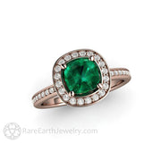 Rare Earth Jewelry Emerald Right Hand Ring Diamond Halo Rose Gold Setting