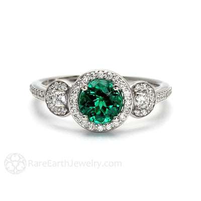 Rare Earth Jewelry Green Emerald Ring with Diamonds Round Cut 3 Stone Halo Setting Anniversary or May Birthstone