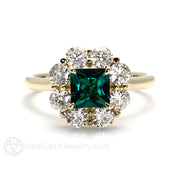 Princess Green Emerald Halo Engagement Ring 14K Rare Earth Jewelry