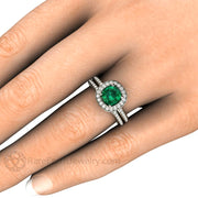 Rare Earth Jewelry Emerald and Wedding Ring Set on Finger Square Antique Cushion Cut
