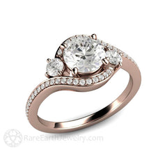 Rare Earth Jewelry Engagement Ring Diamond or Moissanite 3 Stone Bypass Rose Gold Setting
