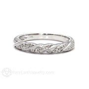 Rare Earth Jewelry Engraved Diamond Wedding Band Art Deco Rope Twist Pattern