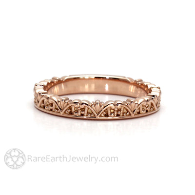 Rare Earth Jewelry Engraved Filigree Deco Ring Anniversary or Right Hand Band
