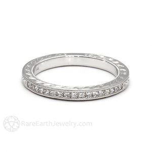 Rare Earth Jewelry Engraved Princess Cut Diamond Wedding Ring Art Deco Milgrain
