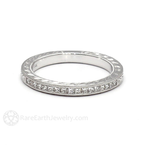 Engraved Princess Cut Diamond Wedding Ring Art Deco Milgrain