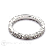 Rare Earth Jewelry Art Deco Style Stackable Band with Channel Set Princess Diamonds