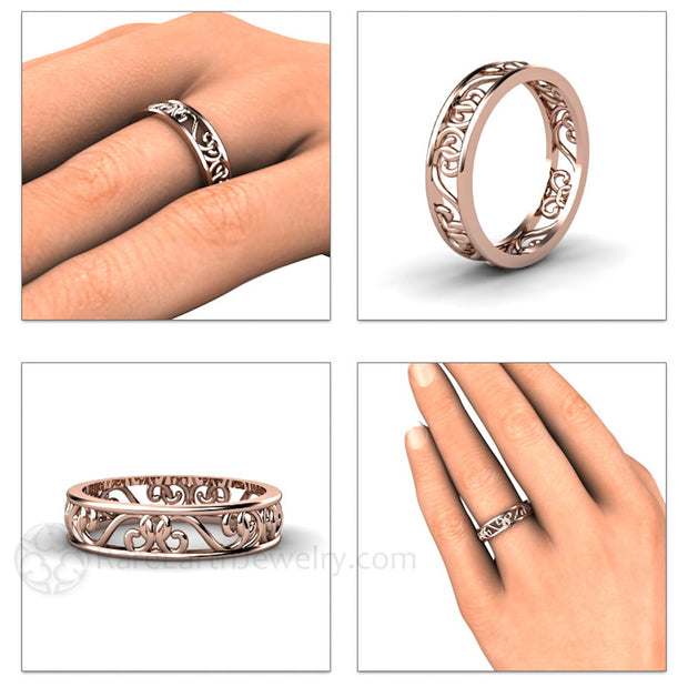 Rare Earth Jewelry Filigree Bridal Ring or Right Hand Ring on Finger 14K or 18K Gold