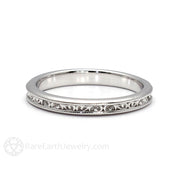 Rare Earth Jewelry Filigree Wedding Ring Milgrain Vintage Style 2.5mm Bridal Band
