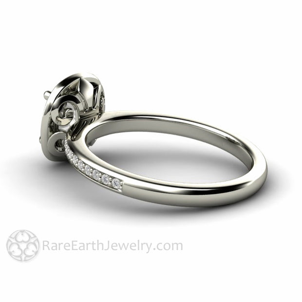 Rare Earth Jewelry Fleur de Lis Moissanite Ring Diamond Halo Vintage Style Cushion Cut 14K