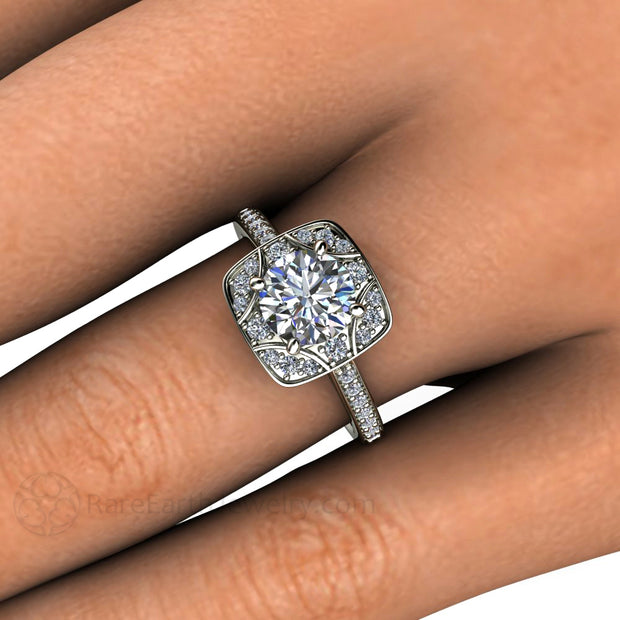 Rare Earth Jewelry Moissanite Ring 1 Carat Round Cut Vintage Design Diamond Accented Halo and Band